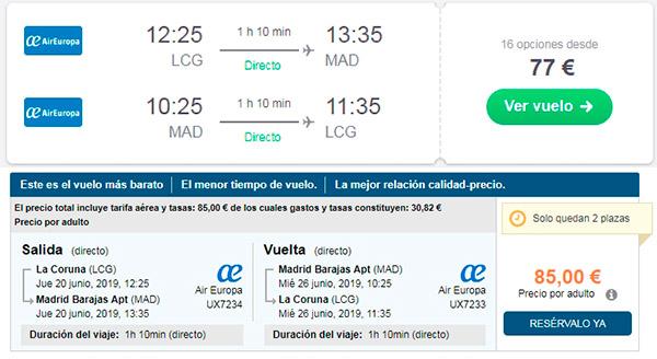 Comparativa vuelos